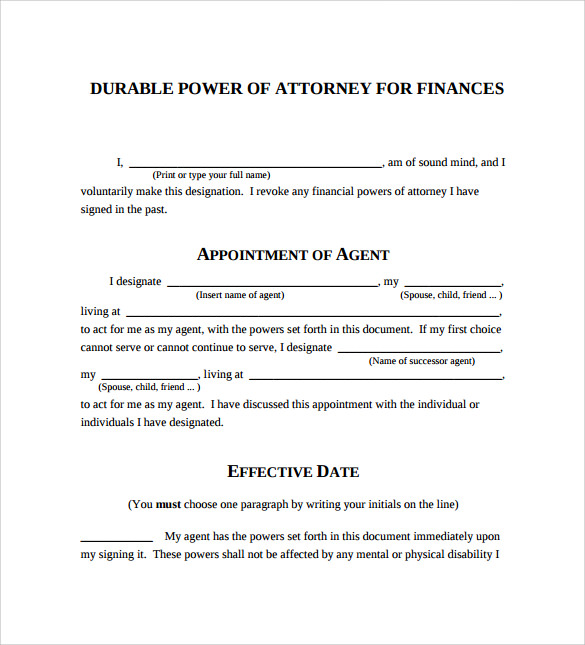 Durable Power Of Attorney Forms   Free Samples Examples  Formats