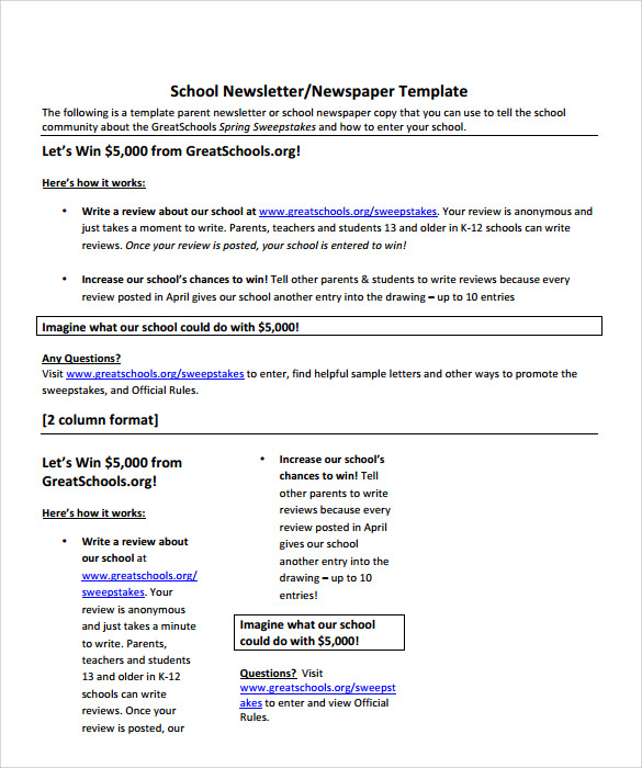sample school newspaper documents in pdf word school newspaper template example