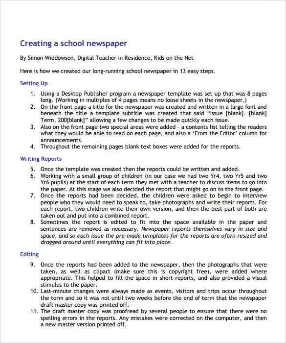 Sample School Newspaper   Documents In Pdf Word