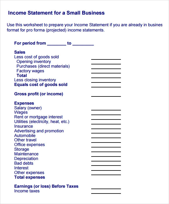 Business Income Statement Example  Business Profit And Loss Statement For Self Employed