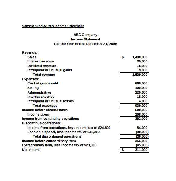 Printable Income Statement Example  Printable Profit And Loss Statement