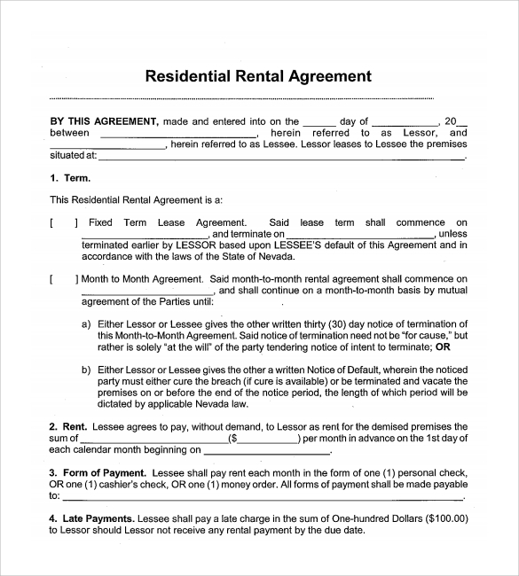 Sample Month To Month Rental Agreement Form   Free Documents
