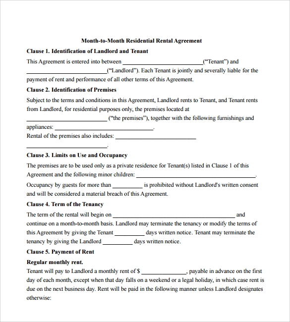 Sample Month To Month Rental Agreement Form - 11+ Free Documents