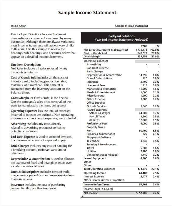 Income Statement Template Word  CityEsporaCo