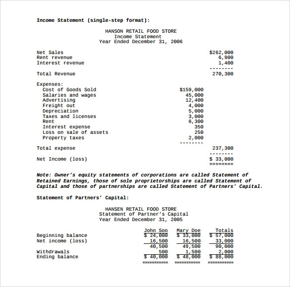 sample income statement template .