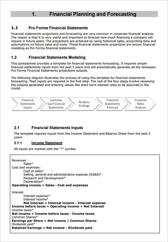 Sample Proforma Income Statement   Documents In Pdf  Word