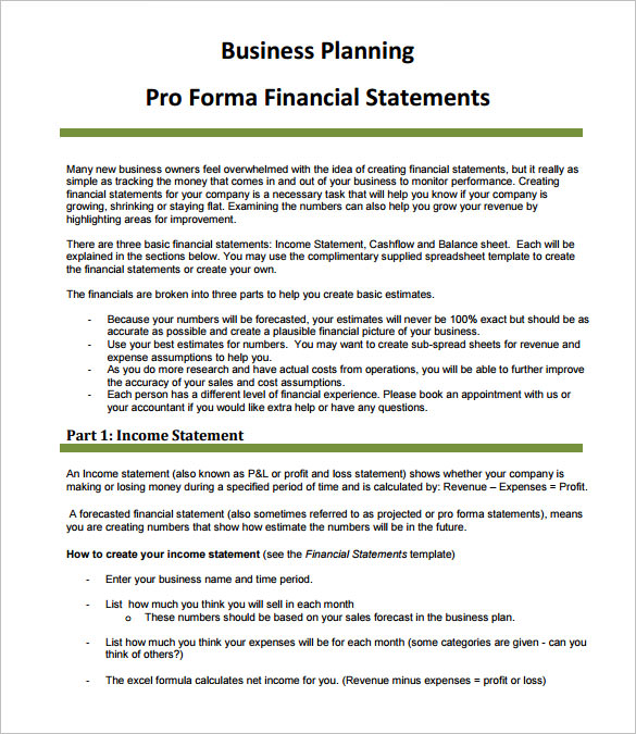 Free business plan pro forma income