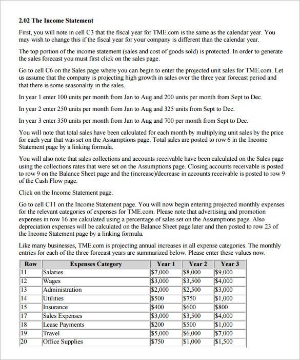 proforma income statement