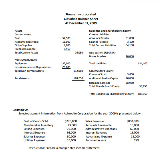 sample traditional income statement