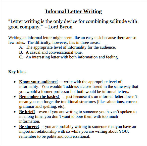 Informal-Letter-Writing Sample Informal Letter Template on business proposal,