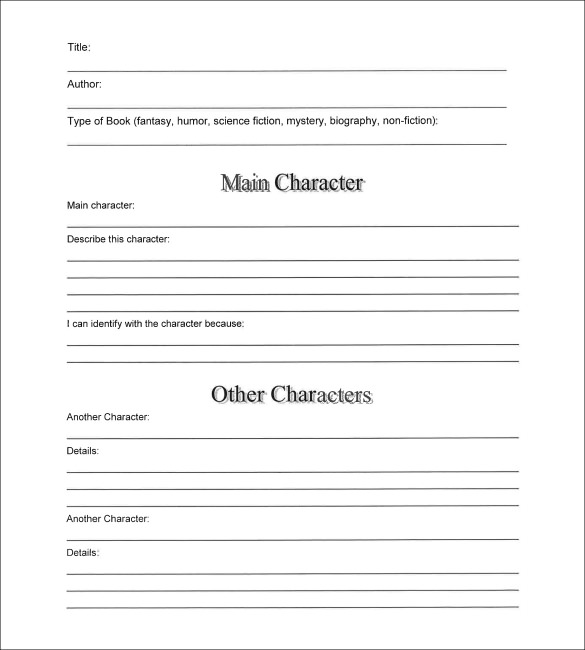 book summary template 6 samples examples format