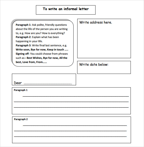 informal letter format download