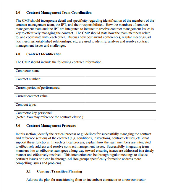 contract summary template