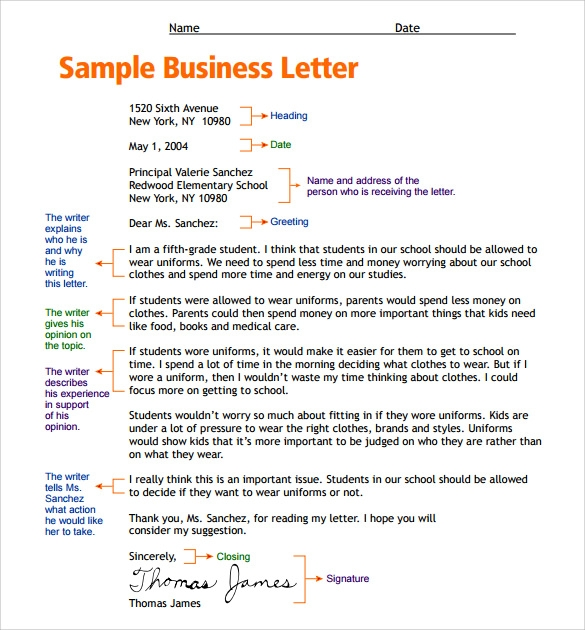 Sample Letter Format for Kids 7