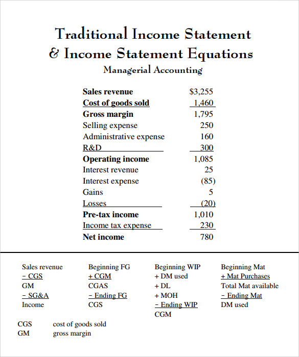 how to prepare an income statement example