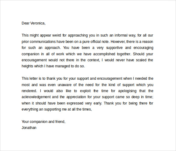 Personal Letter Format 9 Samples Examples Format – Personal Thank You Letter