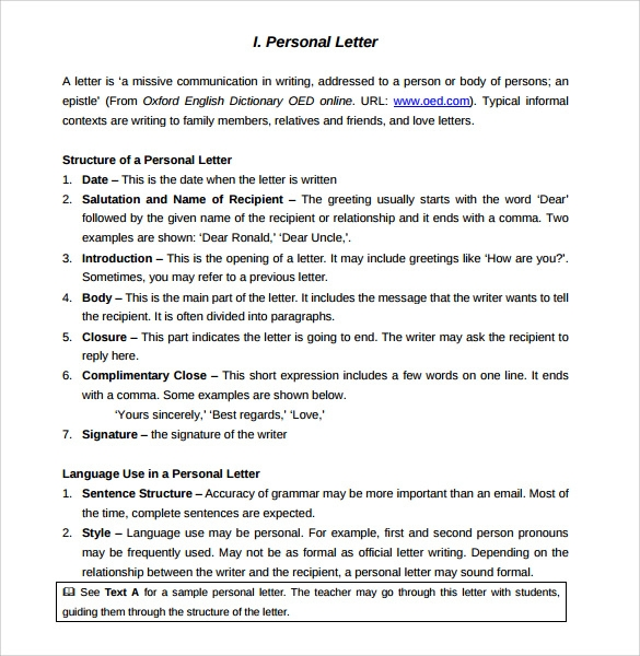 Personal Letter Format - 9 + Samples , Examples & Format