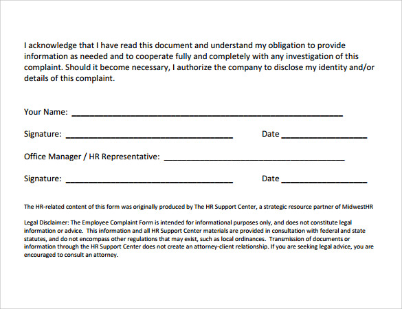 9 employee complaint form templates  u2013 samples   examples