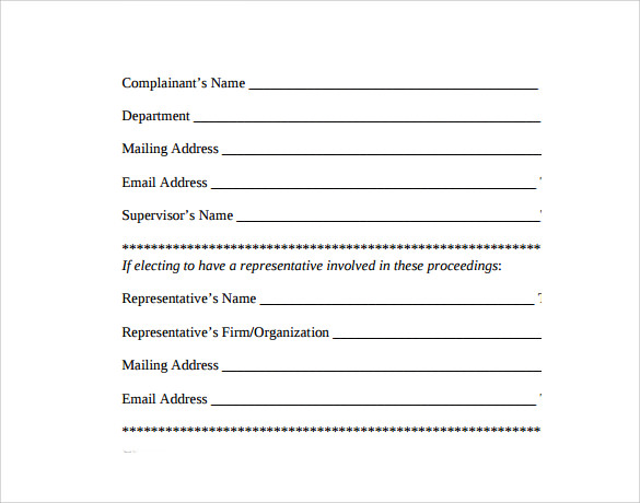 9 Employee Complaint Form Templates – Samples , Examples & Formats ...