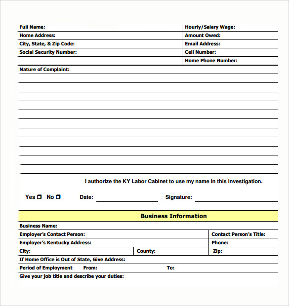 Employee Complaint Form   Free Samples  Examples  Formats