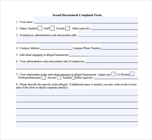 Harassment Complaint Form 6 Free Samples Examples Formats – Employee Complaint Form Example
