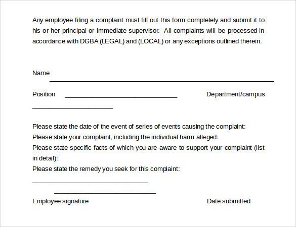 download employee complaint form