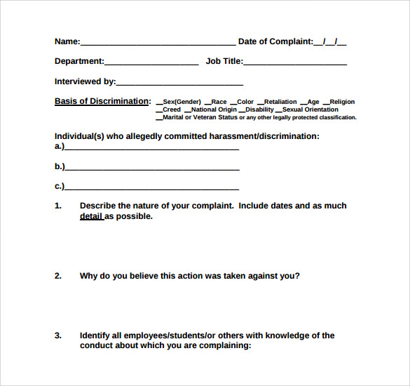 Harassment Complaint Form - 6+ Free Samples, Examples & Formats
