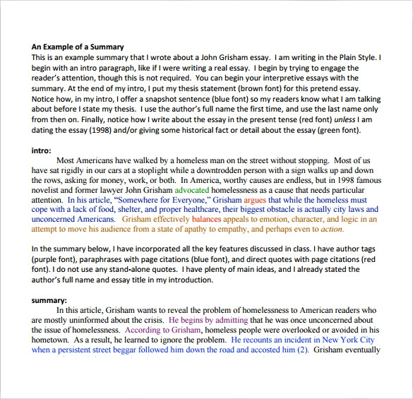example of a article summary tempalte3