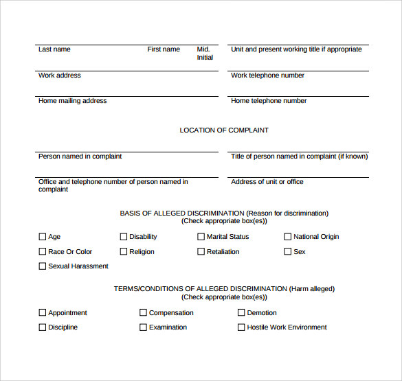 harassment complaint form