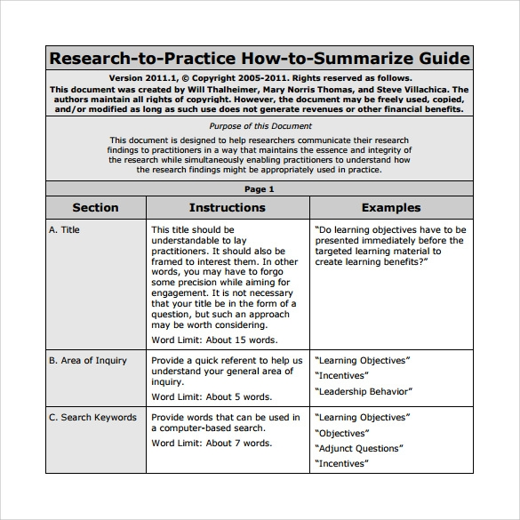 template for research article summary