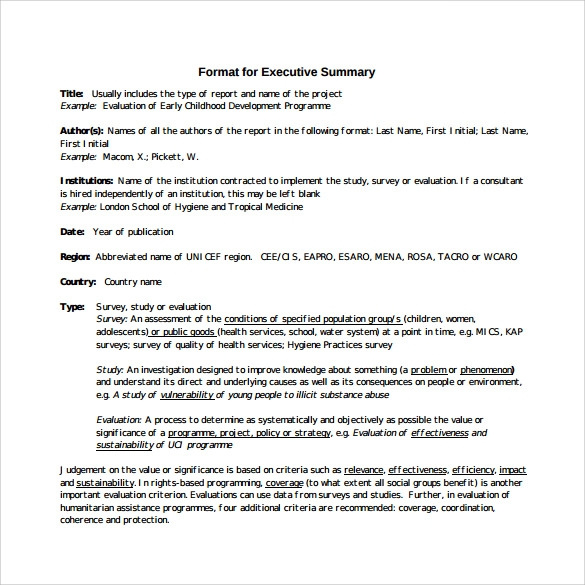 Executive Summary Format  Project Executive Summary Template
