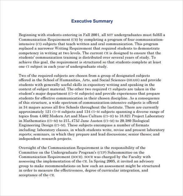 executive summary template sample