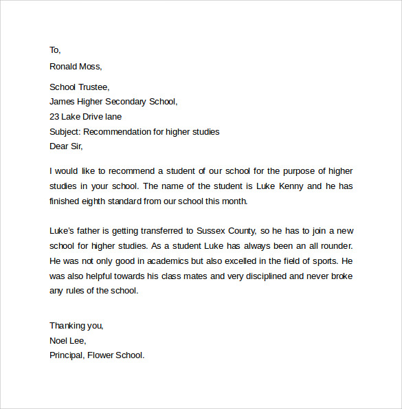 sample recommendation letter for higher studies