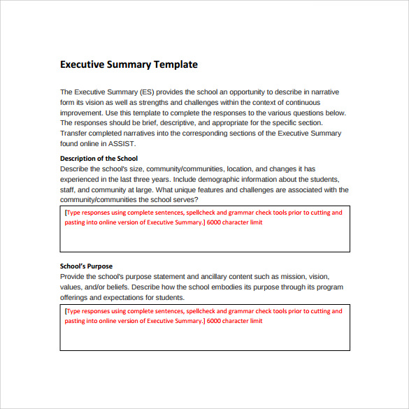 executive summary template example