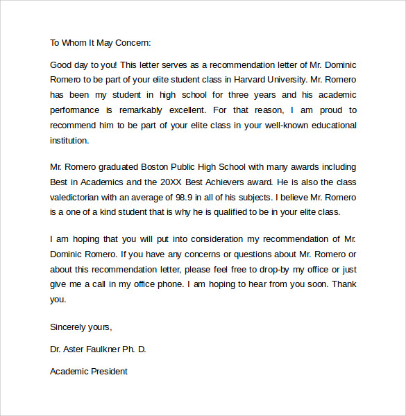 Sample Student Recommendation Letter