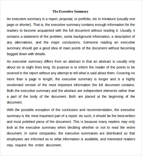 Executive Summary Template Word  Example Of Good Executive Summary
