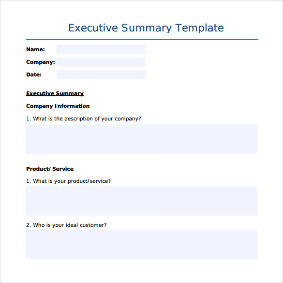 sample executive summary template