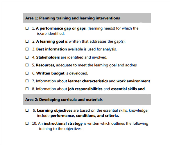 Sample Training Checklist   Example Format