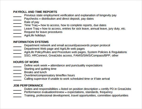 standard training checklist