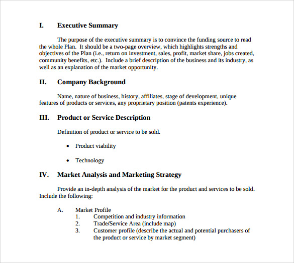 Sample Business Summary Template 8 Free Documents In PDF Word – 1 Page Executive Summary Template