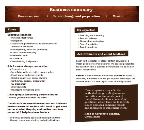 Sample Business Summary Template - 8+ Free Documents In Pdf, Word