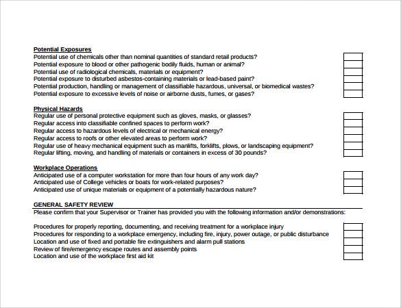 sample training checklist