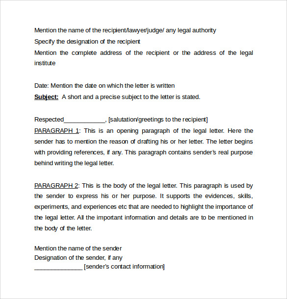 Legal Letter Template 8 Samples Examples Formats – Legal Letter Format