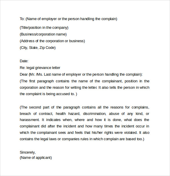 Letters Of Grievance To An Employer