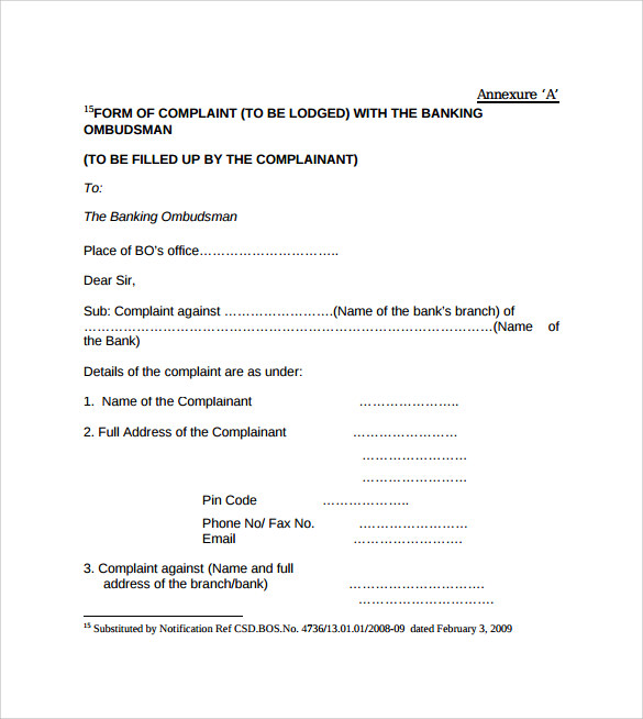 Banking Ombudsman Complaint Form   Free Samples Examples  Formats