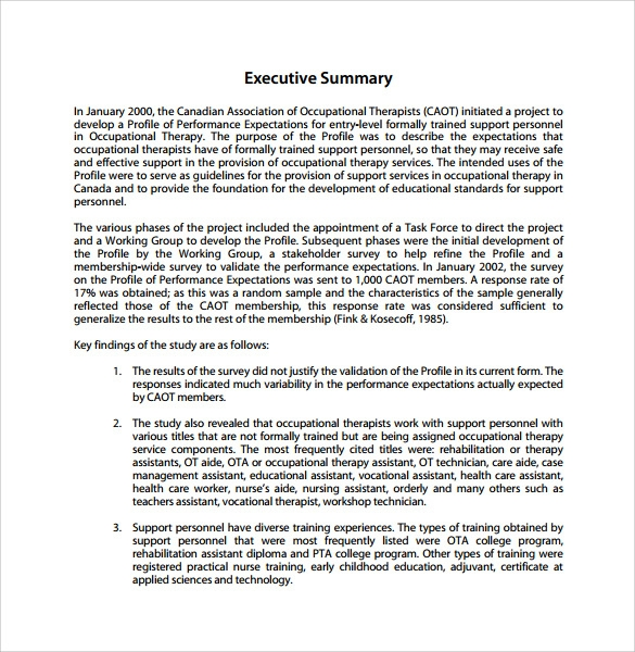 executive summary for a report sample
