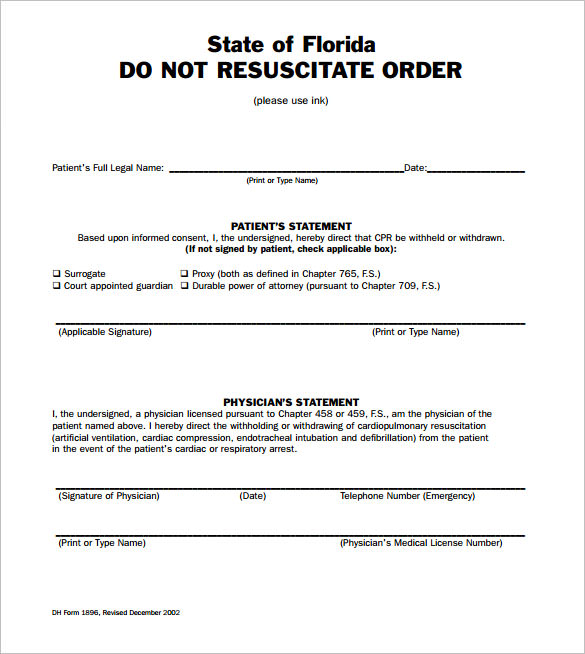 Sample Do Not Resuscitate Form   Download Documents In Pdf Word