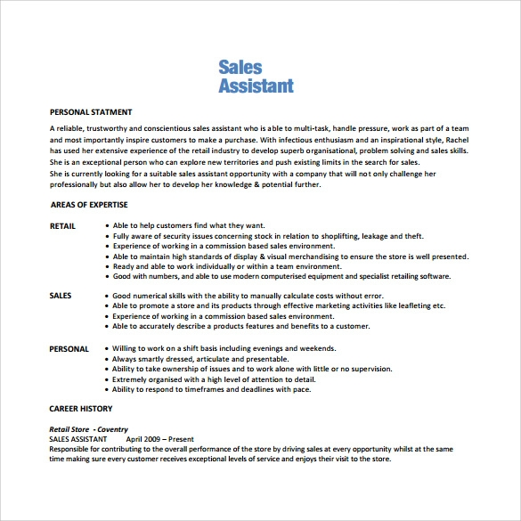 Sales Associate Resume 7 Free Samples Examples