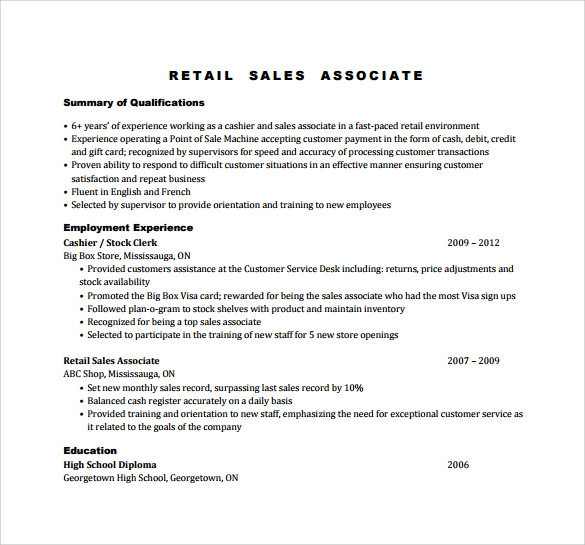 Sample Sales Associate Resume 8 Free Documents in PDF DOC