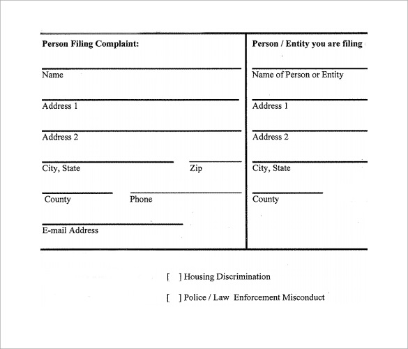 Sample Civil Complaint Form Free Download Colleage Noise Complaint